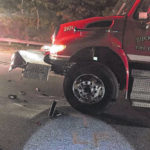 Fire truck 'blocker' damaged by passing driver