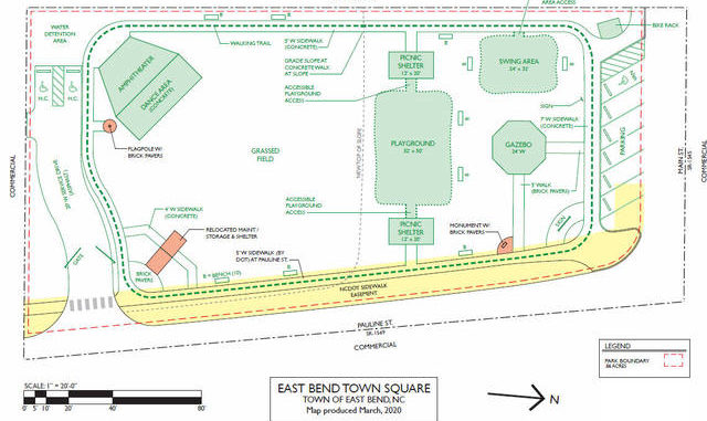 Proposed design map of the East Bend Town Square park.