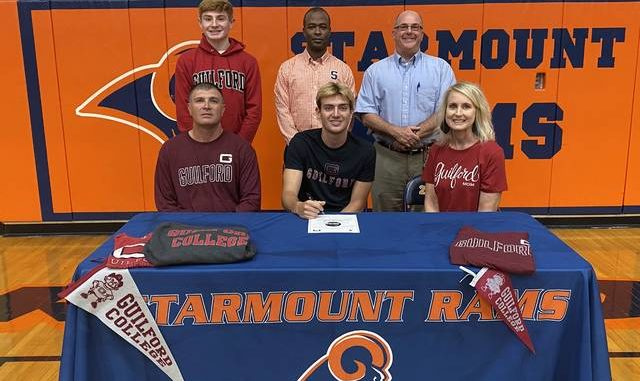 Trey Dezern signed his Letter of Intent to play basketball at Guilford College starting this Fall. Dezern was joined at the signing by, front row from left, Adrian Dezern and Andrea Dezern. Back row, Zack Dezern, Coach Sandy Grinton, and Principal Tracy Kimmer.