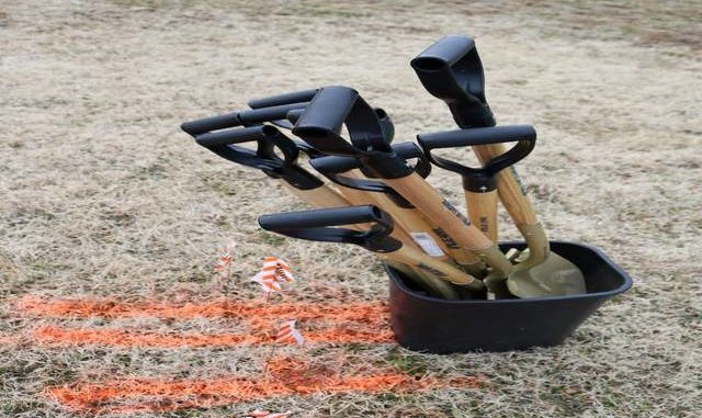 Shovels await the ceremonial groundbreaking for the East Bend Town Square on Tuesday.                                  Lisa Michals | The Yadkin Ripple