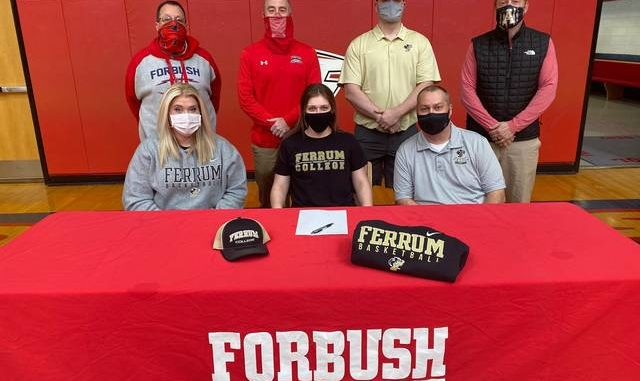 Forbush basketball player, Hailey Workman, signed her National Letter of Intent to play basketball at Ferrum College. Workman transferred to Forbush where she played one season with the Lady Falcons' basketball team. During that time, Workman played 10 games where she averaged four points, one block and two rebounds per game. Joining Workman at the signing were, front row from left, Karissa Workman, and Steve Workman. Back row, women's basketball assistant coach Shane Compton, women's basketball head coach Bradley Shore, Gametime Performance's Tony Ellis, and Forbush Athletic Director Matt Pruitt.                                  Kristian Russell   Yadkin Ripple