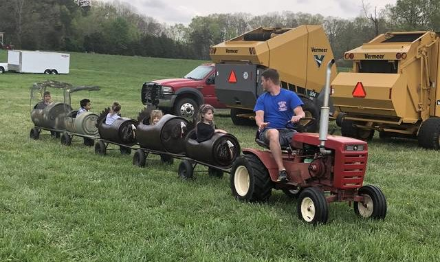 A barrel train takes youngsters on a tour around the grounds of the annual Glory Days Tractor Show.