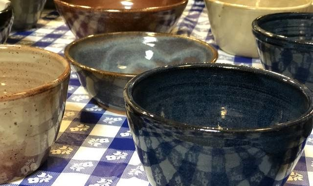 Handmade pottery bowls at the annual Empty Bowls fundraiser.
