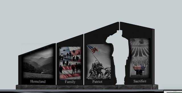 Gold Star Memorial monument to be placed next month at Elkin Municipal Park.                                  Courtesy image