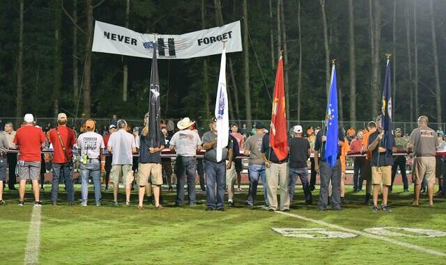The colors were presented by the Yadkin Valley Veterans Council.                                  Kristian Russell | Elkin Tribune and Yadkin Ripple