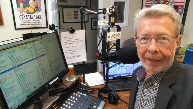 State Road native Ralph Shaw, seen here in the studio at WTOB 980 AM in Winston-Salem, had a journalism career spanning the Siloam Bridge collapse to interviewing four presidents of the United States.                                  Courtesy Ralph Shaw